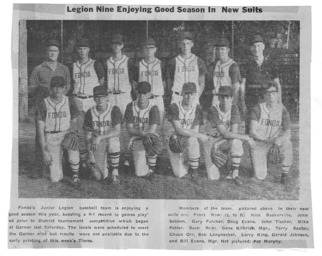 1967 Fonda American Legion Baseball Team